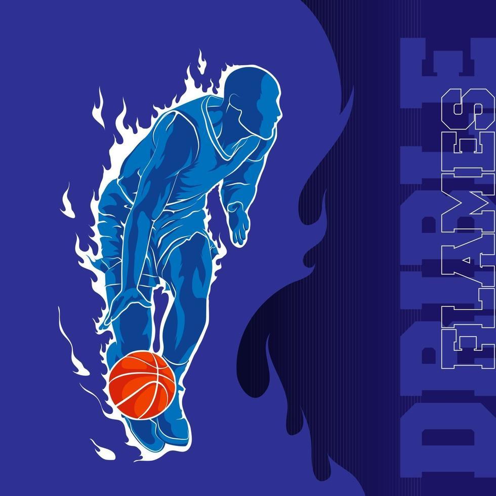 sfondo di fiamma dribbling basket vettore