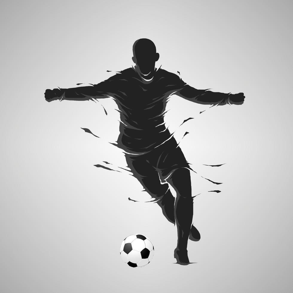 pallone da calcio calcio in posa sagoma scura vettore