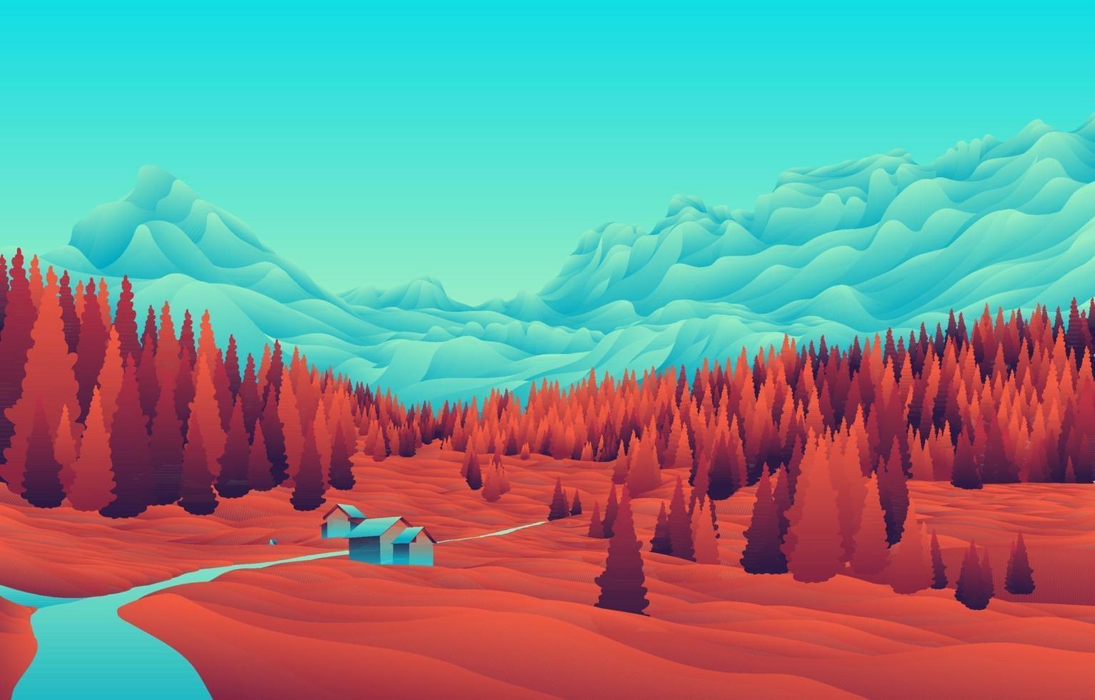 casa montagna verde acqua sfondo arancione vettore