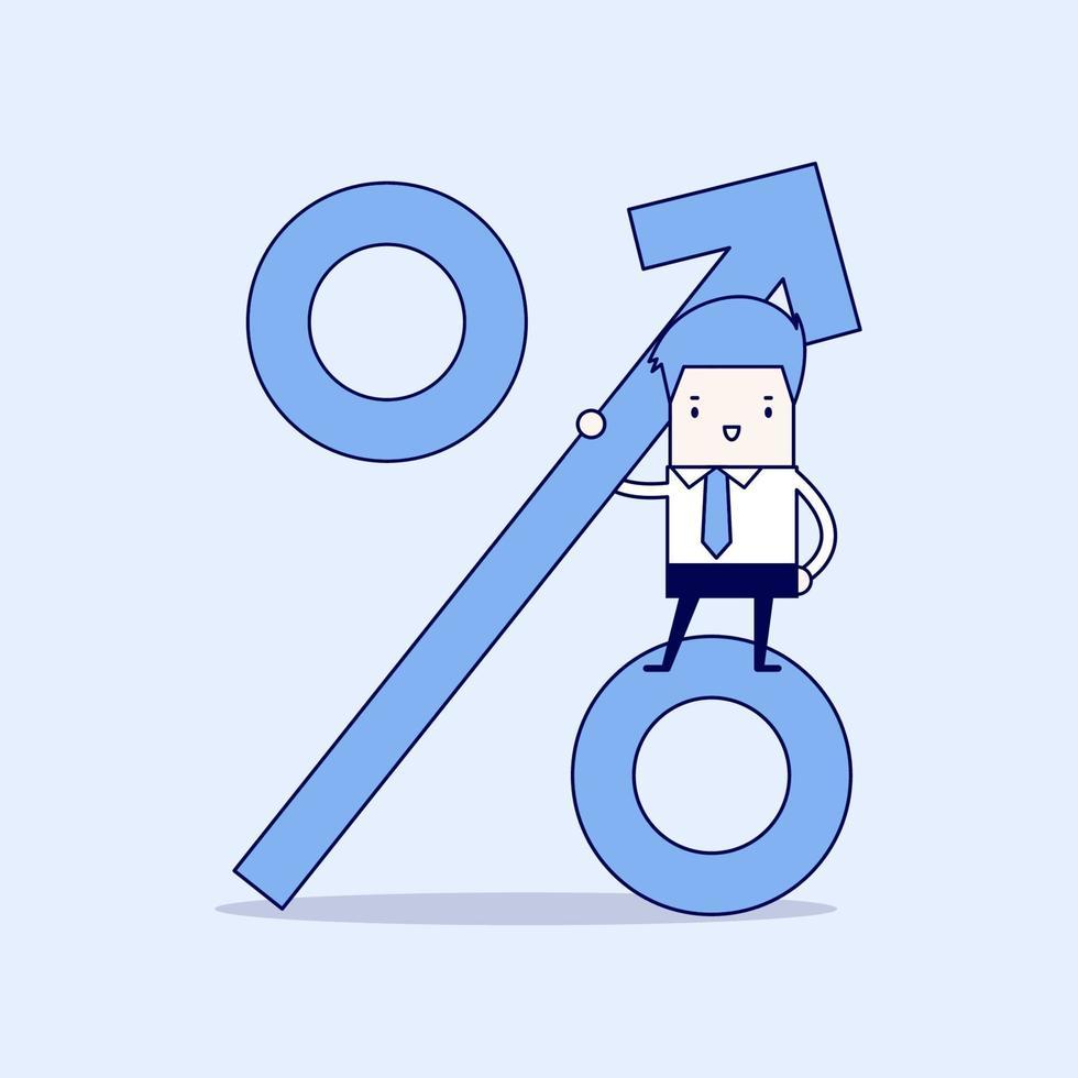 uomo d'affari in piedi sul segno di percentuale. la crescita dei ricavi. vettore di stile di linea sottile personaggio dei cartoni animati.
