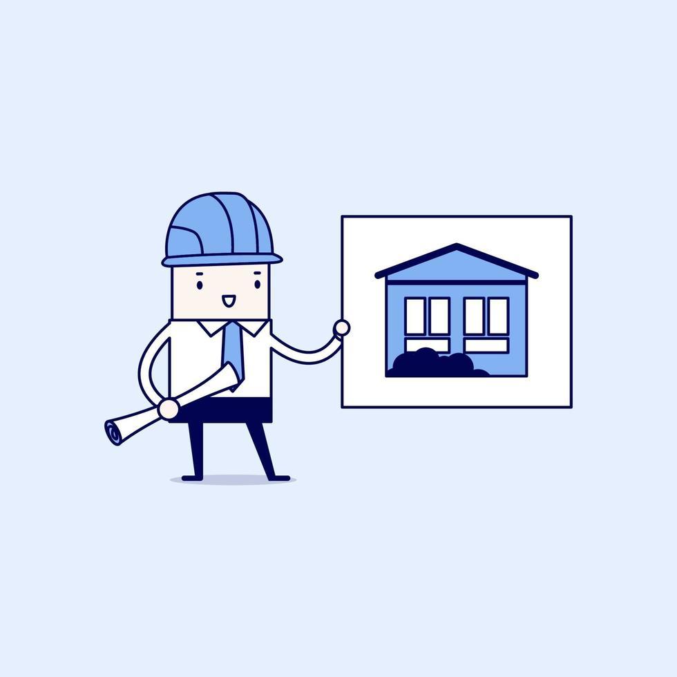 uomo d'affari mostra piani di casa. vettore di stile di linea sottile personaggio dei cartoni animati.