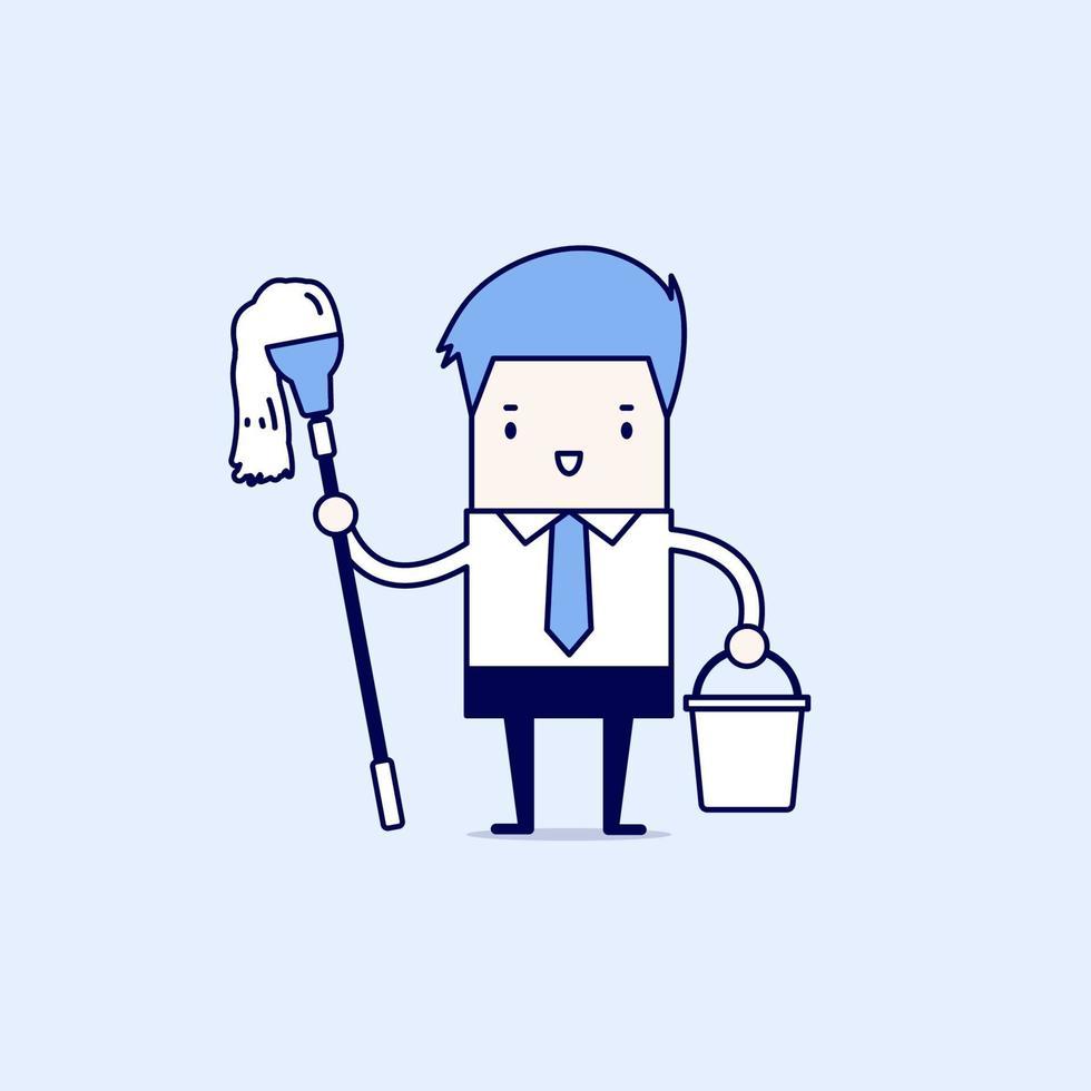 uomo d'affari che tiene una scopa e un secchio. pulire il concetto di posto di lavoro. vettore di stile di linea sottile personaggio dei cartoni animati.