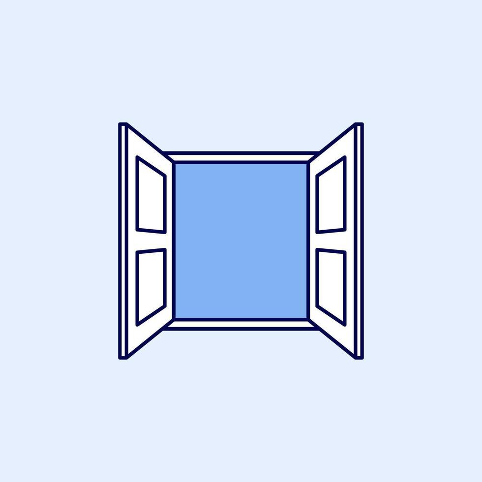 vettore di icona semplice finestra aperta. simbolo della finestra in stile lineare.
