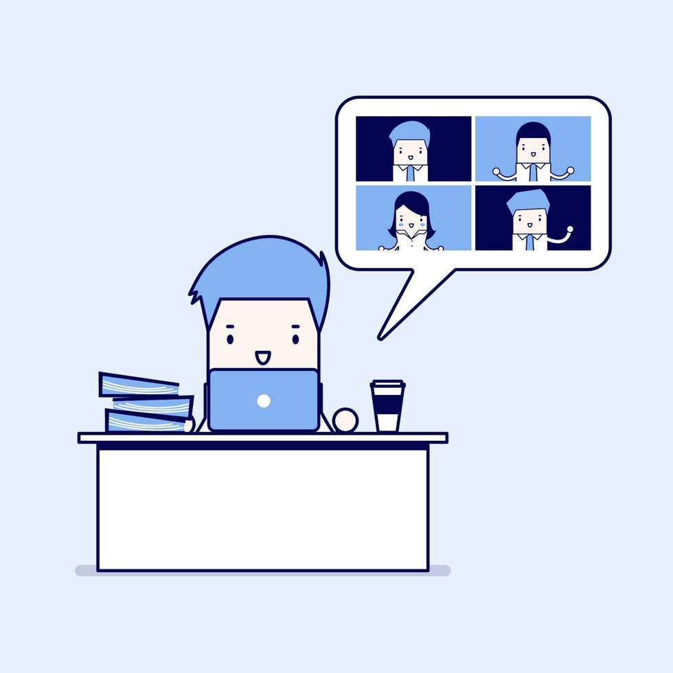 uomo d'affari che lavora con riunione di lavoro in videoconferenza. riunioni virtuali online, lavoro da casa. vettore di stile di linea sottile personaggio dei cartoni animati.