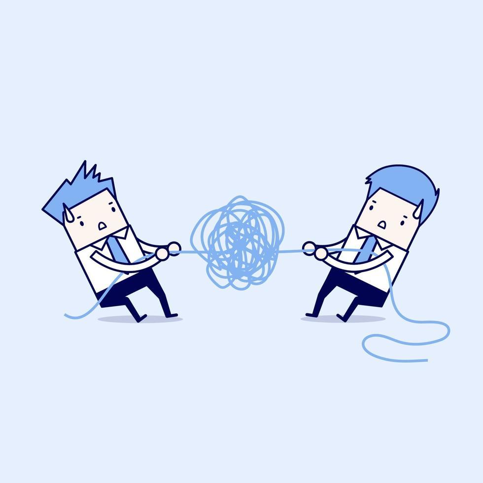 uomini d'affari che cercano di sbrogliare funi o cavi aggrovigliati. vettore di stile di linea sottile personaggio dei cartoni animati.