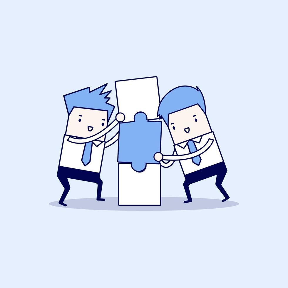 uomini d'affari con scatola di puzzle. concetto di business e partnership. vettore di stile di linea sottile personaggio dei cartoni animati.