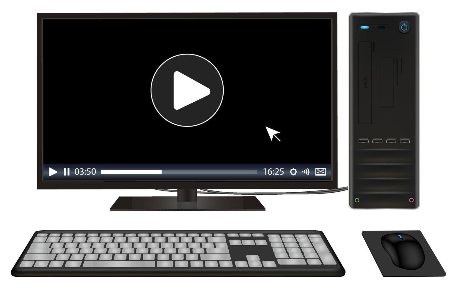 set di personal computer desktop vettore