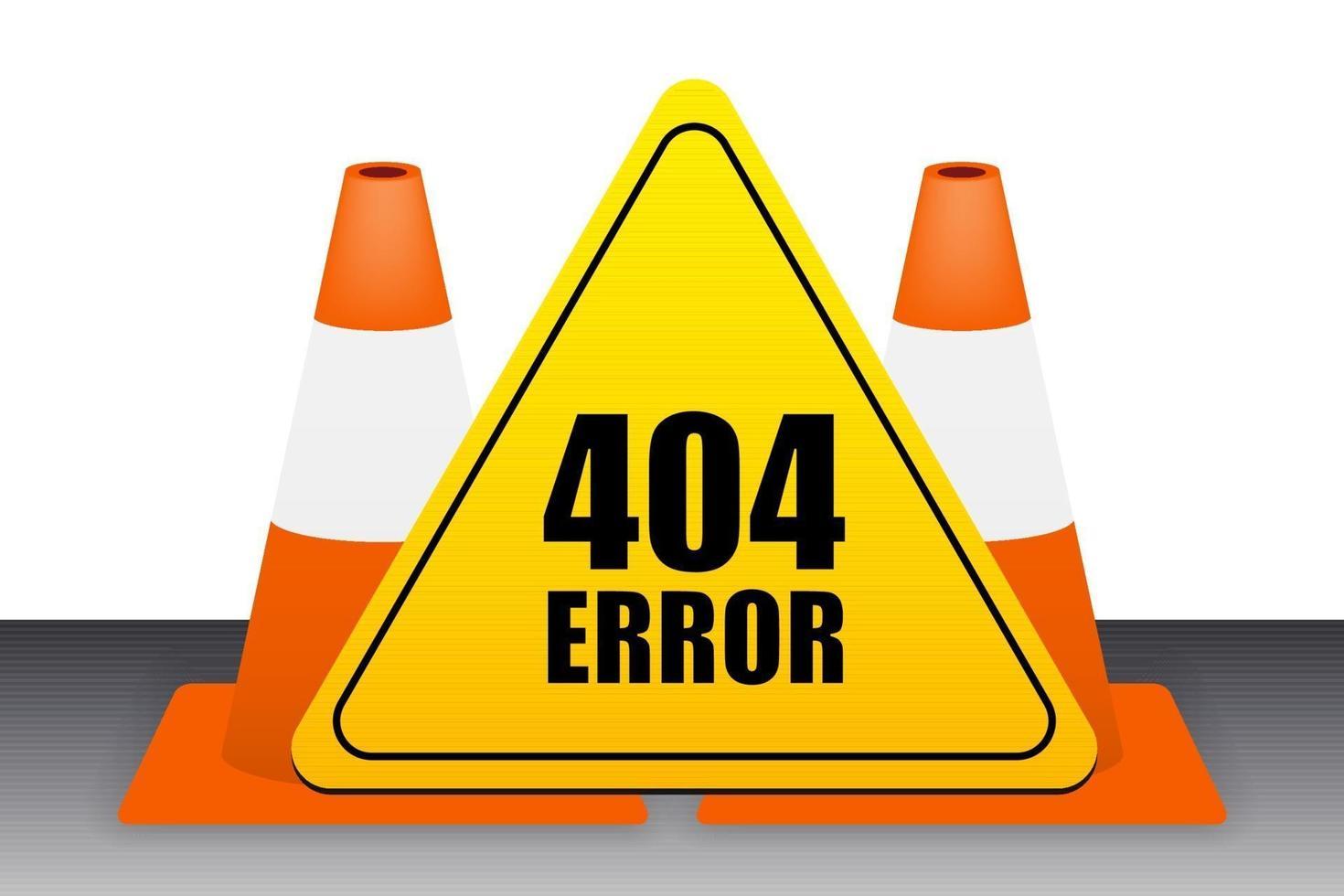 Segno di errore 404 con il vettore del cono di traffico