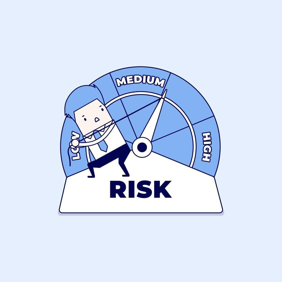 uomo d'affari gestisce il rischio negli affari o nella vita. il rischio sul tachimetro è alto, medio, basso. vettore di stile di linea sottile personaggio dei cartoni animati.
