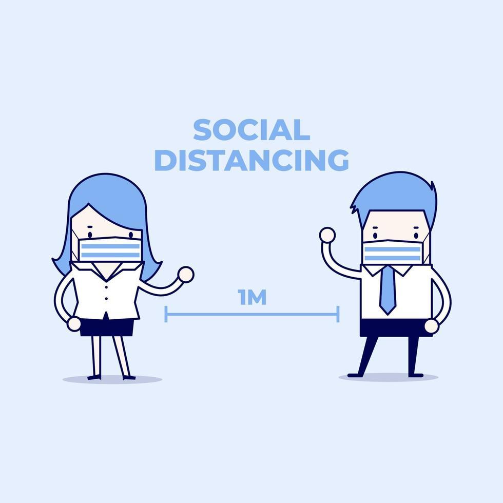 uomo d'affari e imprenditrice tengono le distanze nella riunione con i patogeni del virus. concetto di allontanamento sociale. vettore di stile di linea sottile personaggio dei cartoni animati.