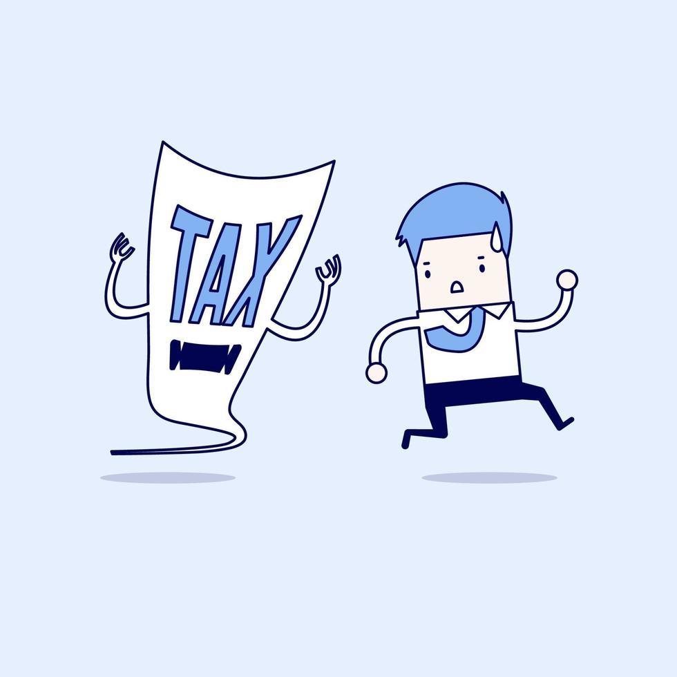 uomo d'affari scappare dal diavolo fiscale. vettore di stile di linea sottile personaggio dei cartoni animati.