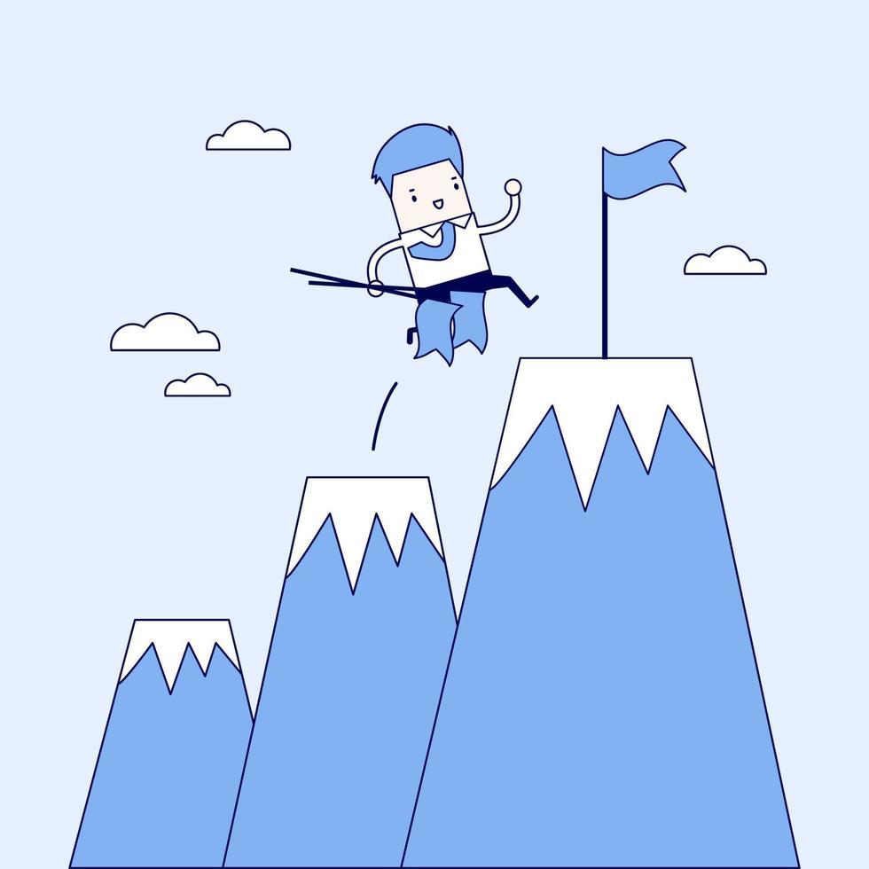 uomo d'affari che si arrampica su montagne o scogliere e si trasferisce al punto di destinazione finale. vettore di stile di linea sottile personaggio dei cartoni animati.