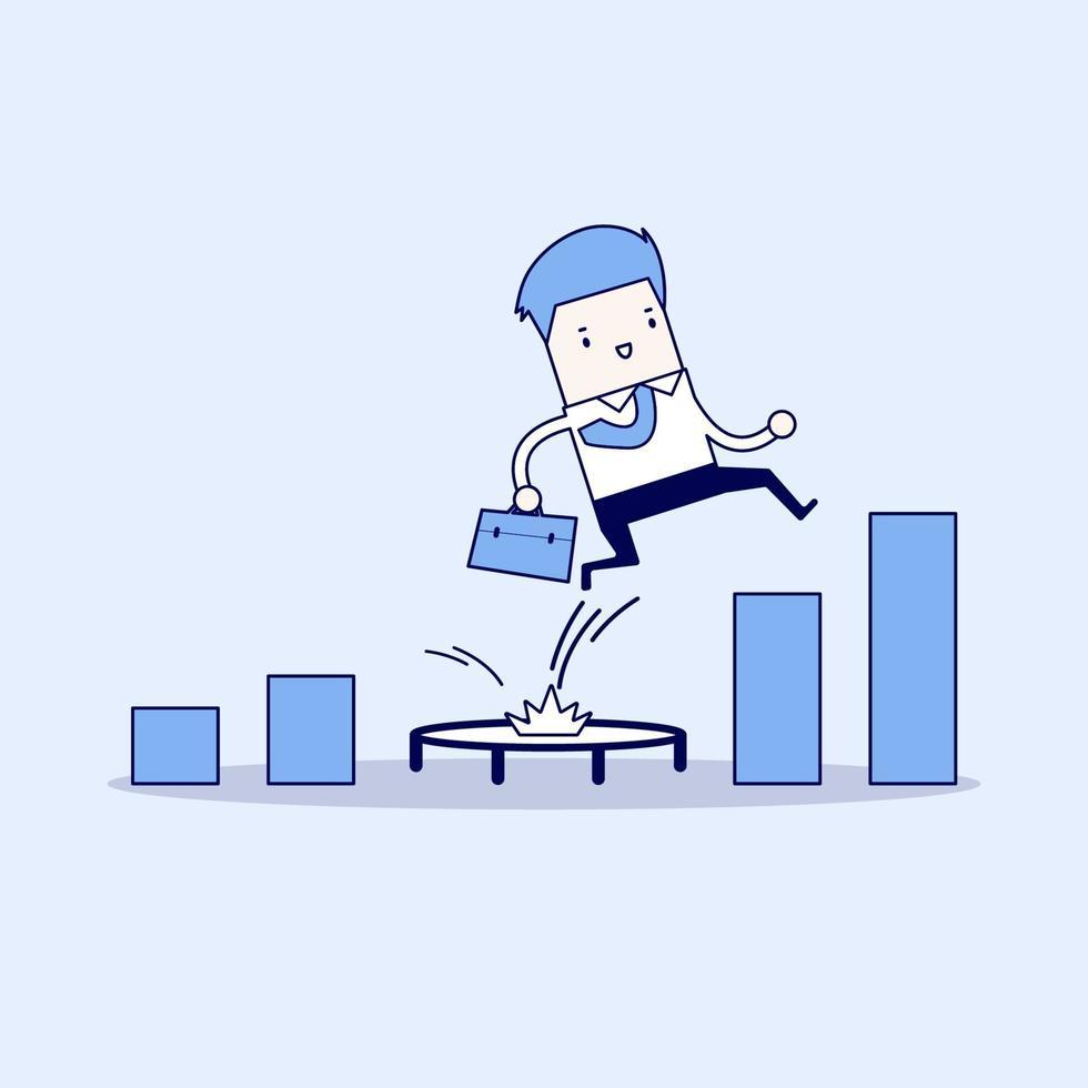 uomo d'affari che salta dal trampolino torna all'inizio del grafico a barre in crescita. vettore di stile di linea sottile personaggio dei cartoni animati.