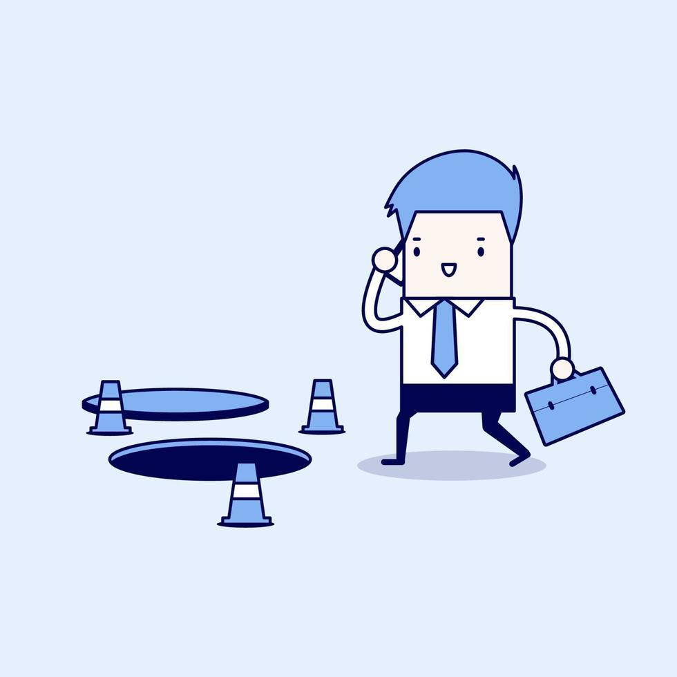 uomo d'affari sta parlando al telefono senza fare attenzione al buco sul terreno. vettore di stile di linea sottile personaggio dei cartoni animati.