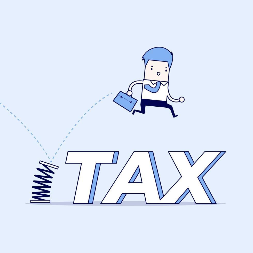 uomo d'affari che salta le tasse con la primavera. vettore di stile di linea sottile personaggio dei cartoni animati.