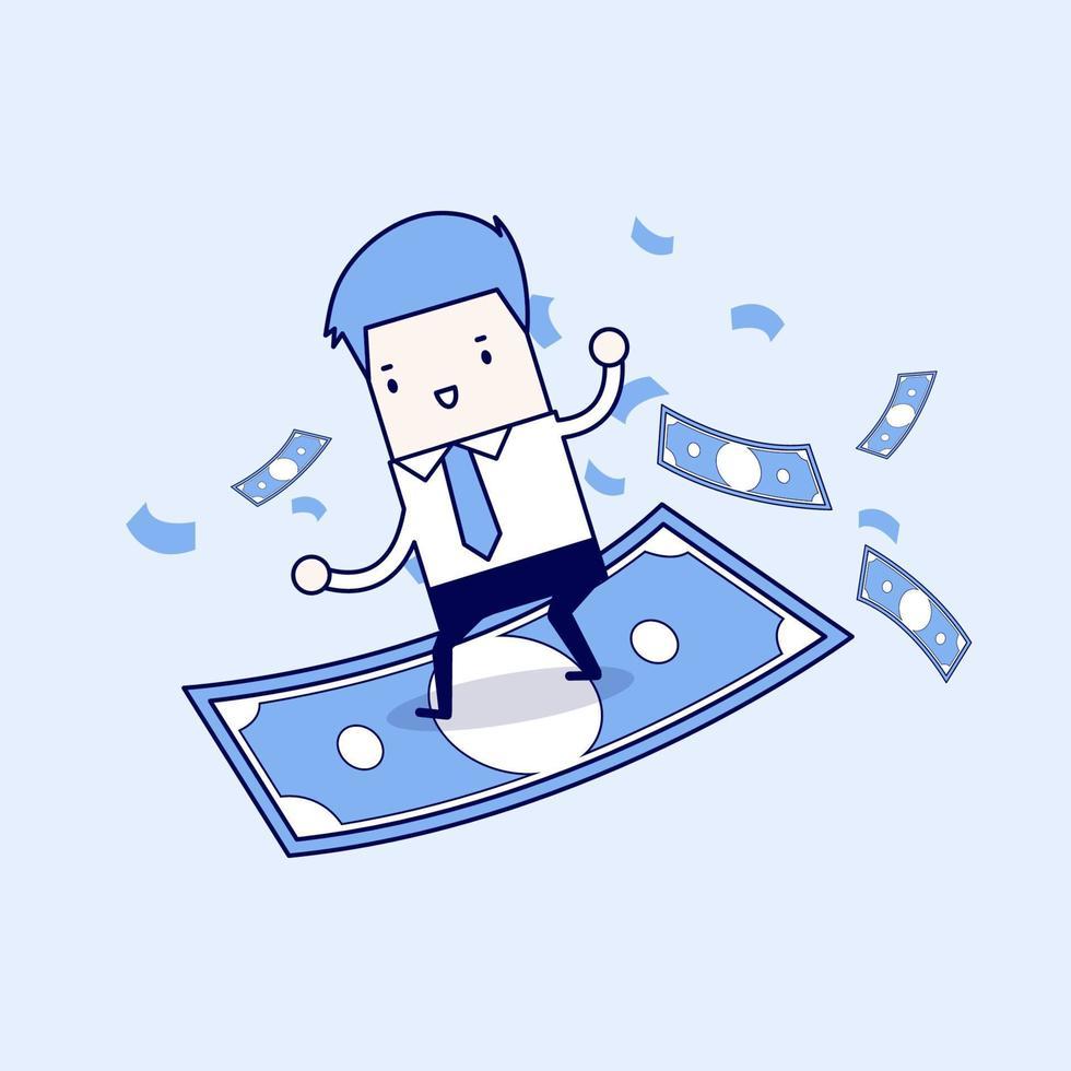 uomo d & # 39; affari equitazione surf battenti soldi. vettore di stile di linea sottile personaggio dei cartoni animati.
