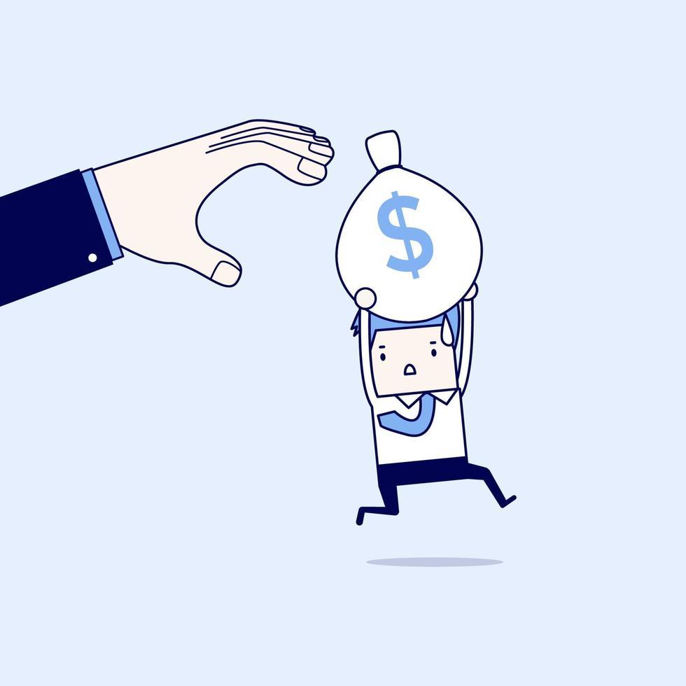 uomo d'affari scappa le mani del capo per rubare sacchi di denaro. vettore di stile di linea sottile personaggio dei cartoni animati.