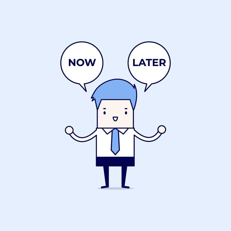 uomo d'affari con ora o più tardi il testo del fumetto. uomo d'affari seleziona la scelta ora o più tardi. vettore di stile di linea sottile personaggio dei cartoni animati.
