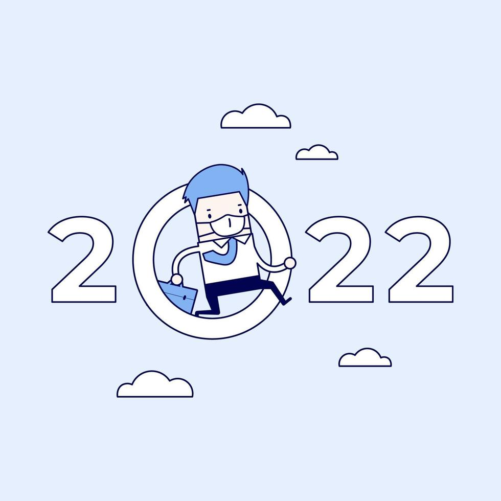 uomo d'affari mascherato che salta attraverso lo zero nel numero 2022. vettore di stile di linea sottile personaggio dei cartoni animati.