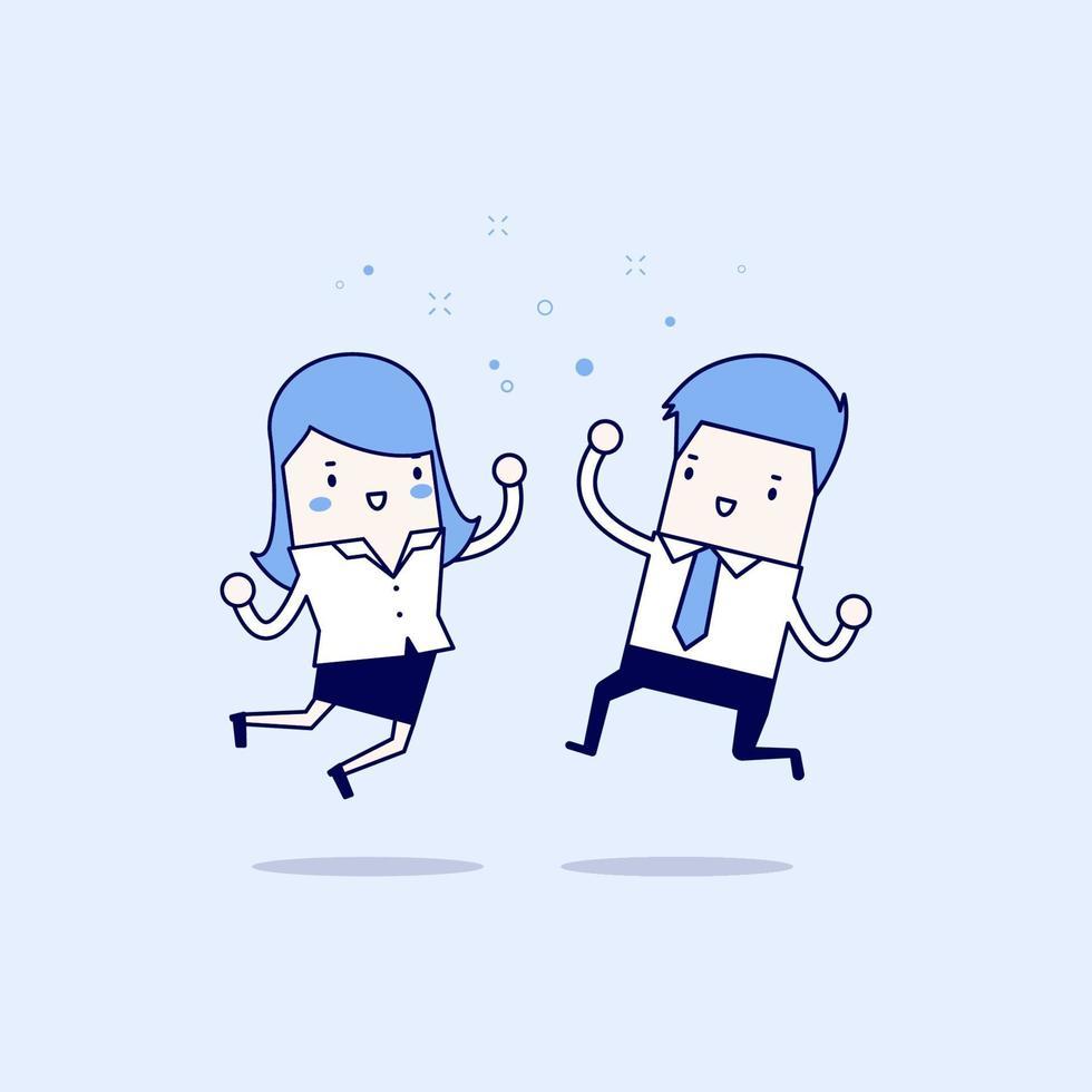 felice imprenditore e imprenditrice saltando. concetto di affari. vettore di stile di linea sottile personaggio dei cartoni animati.
