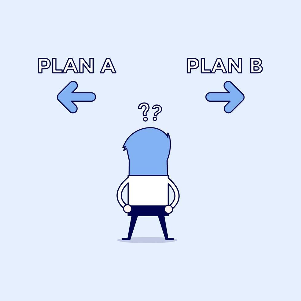 uomo d'affari confuso su due scelte piano ae piano b. vettore di stile di linea sottile personaggio dei cartoni animati.