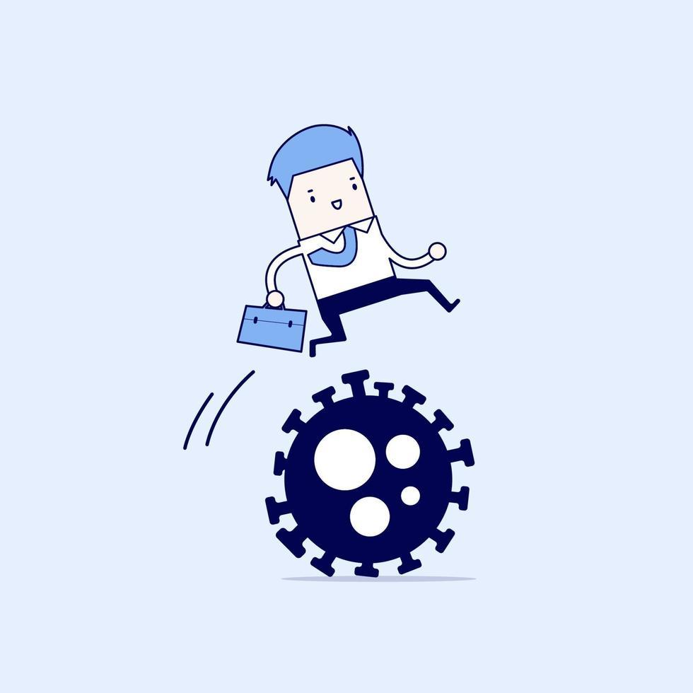 il leader dell'uomo d'affari salta facilmente sul patogeno del virus corona covid-19 vettore di stile di linea sottile personaggio dei cartoni animati.