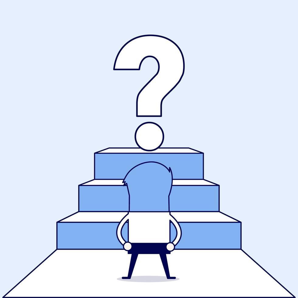 uomo d'affari guardando grande punto interrogativo. vettore di stile di linea sottile personaggio dei cartoni animati.