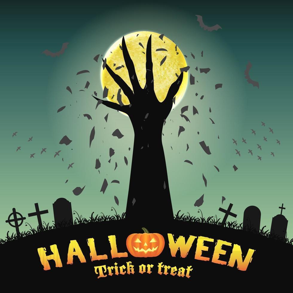 sfondo di Halloween con la mano del demone nel cimitero vettore