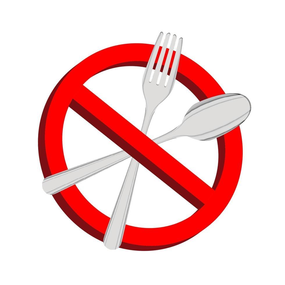 niente cibo, segnale di divieto con forchetta e cucchiaio all'interno vettore