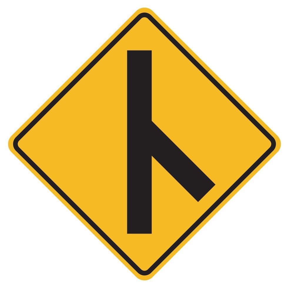 segnali di pericolo svincolato incrocio stradale laterale sulla destra su sfondo bianco vettore