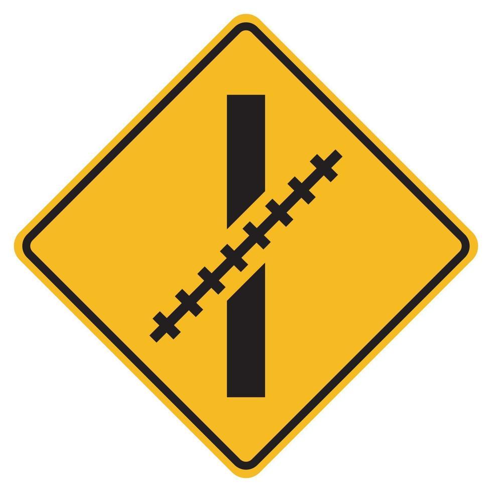 segnali di avvertimento passaggio a livello ferroviario ad angolo obliquo su sfondo bianco vettore