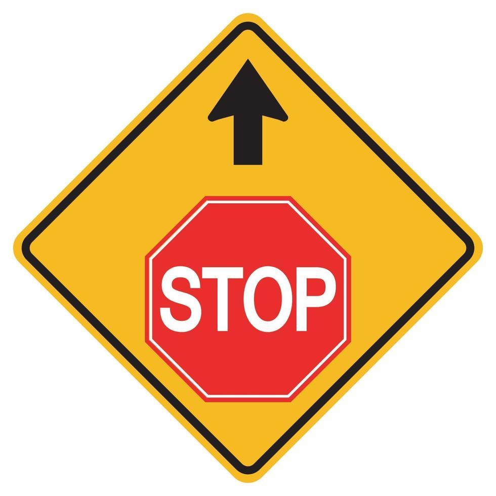 segnali di pericolo si fermano avanti su sfondo bianco vettore