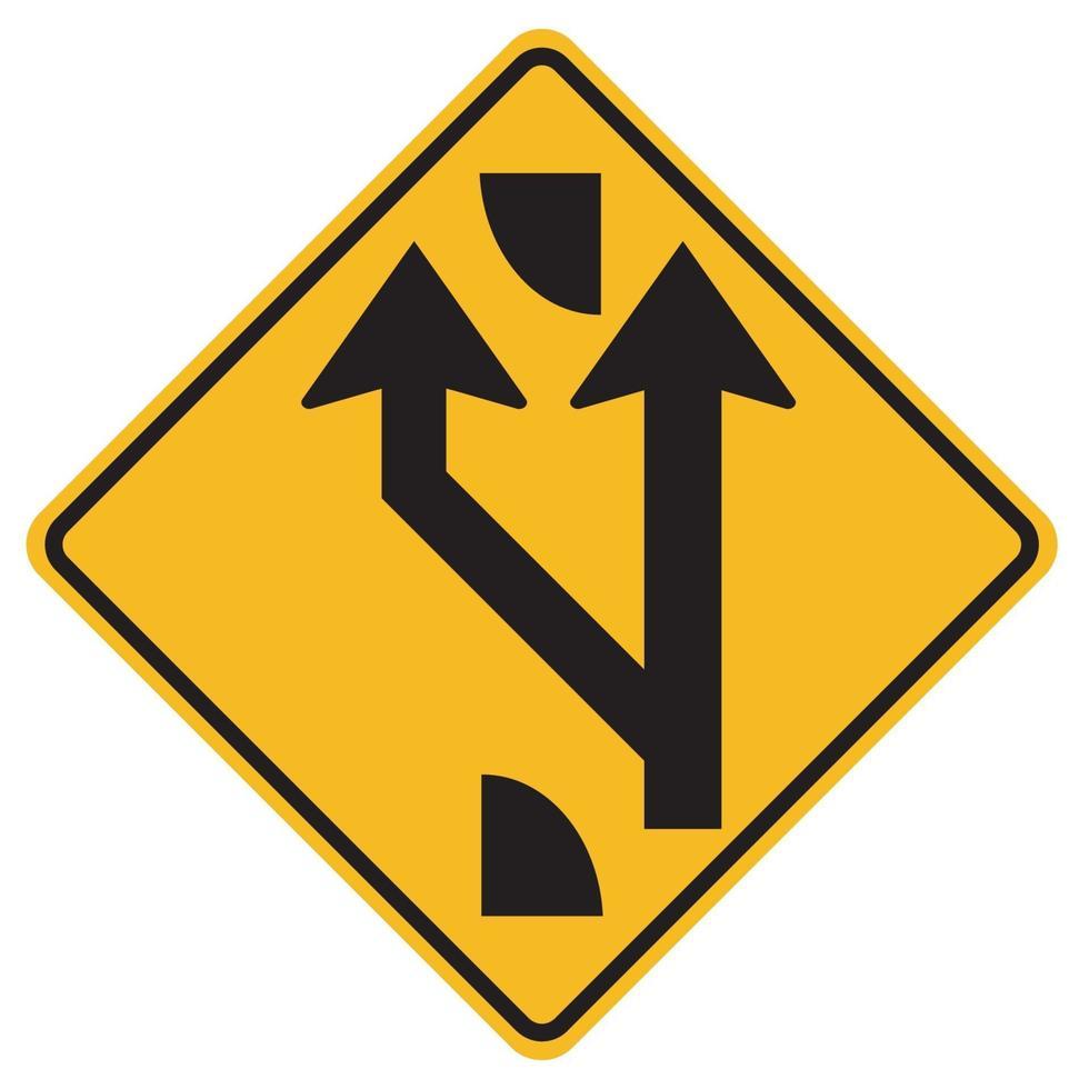 segnali di pericolo aggiunto corsia avanti su sfondo bianco vettore