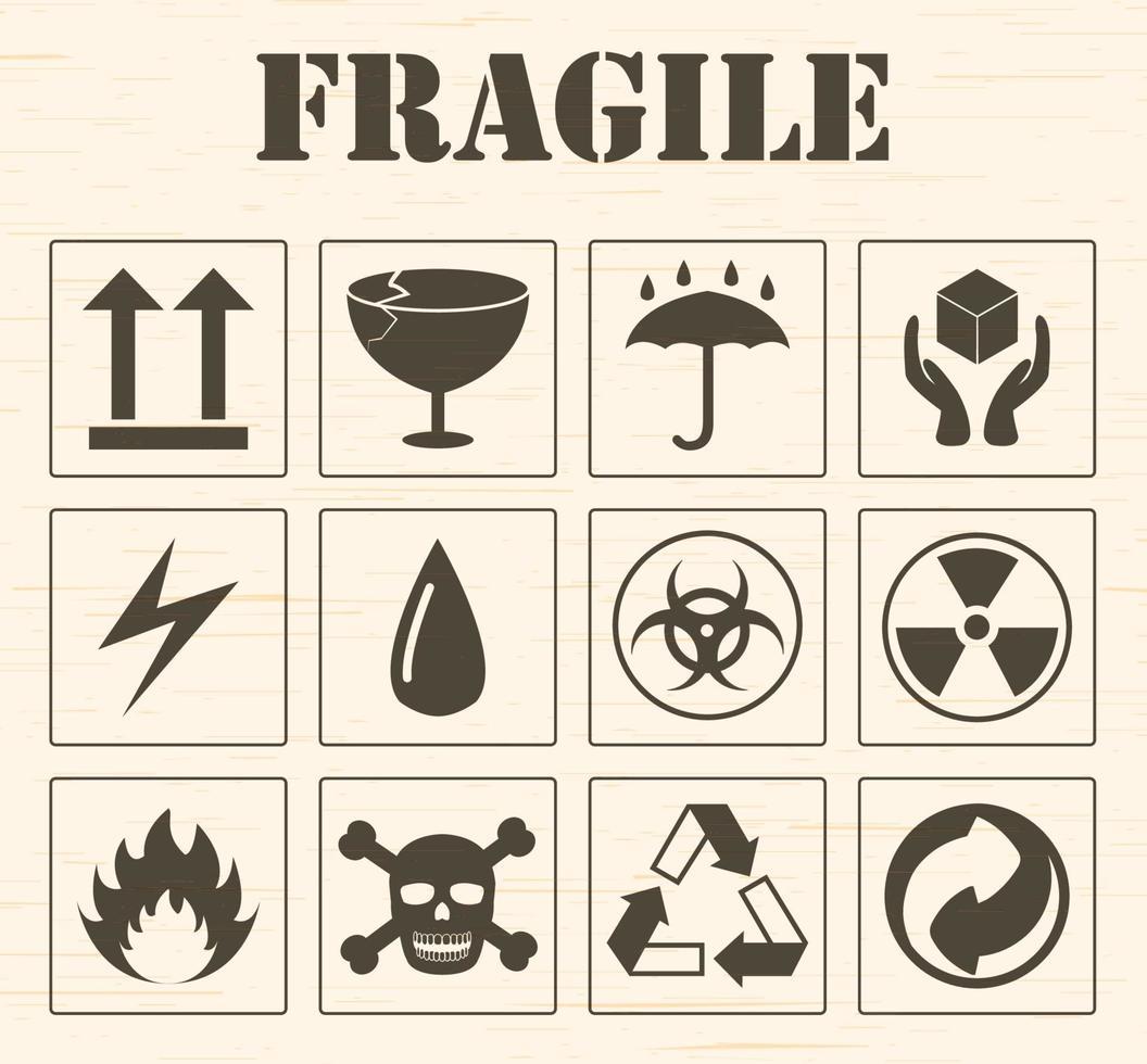 set di icone logo fragile vettore