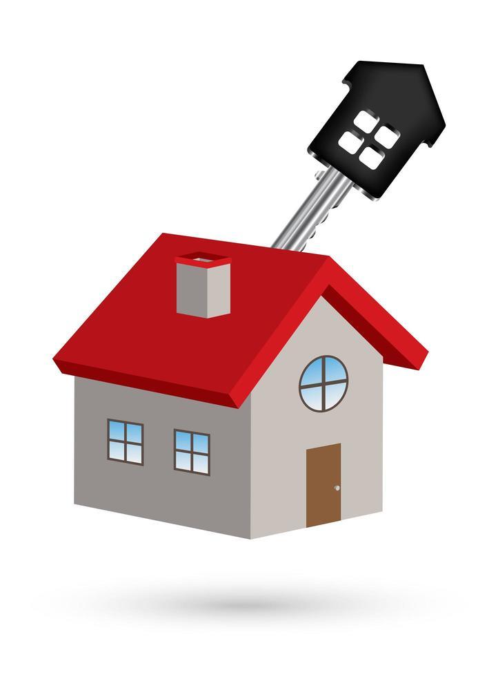 Vettore di casa 3D con chiave di casa