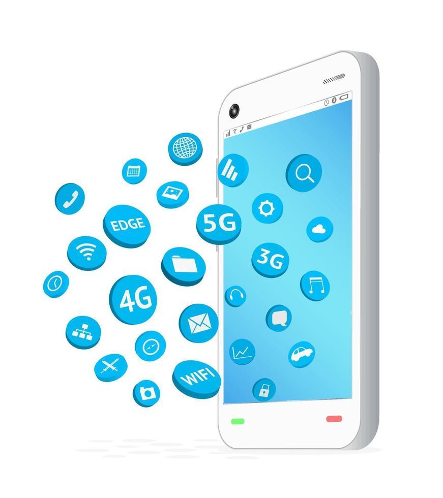 smartphone con icona di app di connessione fluttuante vettore