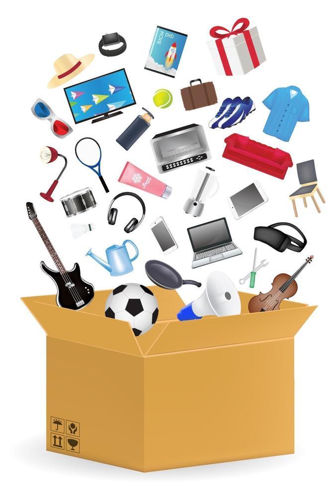 scatola di cartone ondulato con molti prodotti per la spesa galleggianti vettore