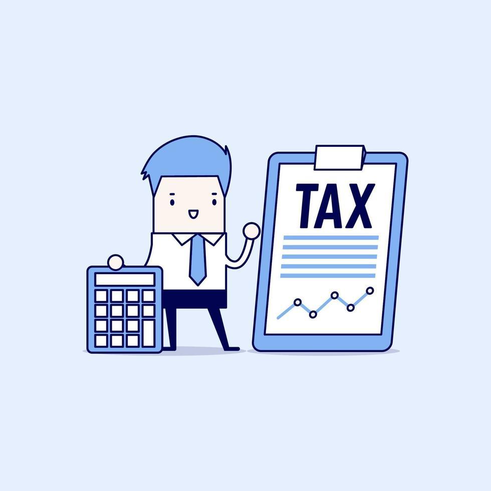 uomo d'affari in piedi con documento fiscale su clip board e calcolatrice. concetto di pagamento delle tasse. vettore di stile di linea sottile personaggio dei cartoni animati.