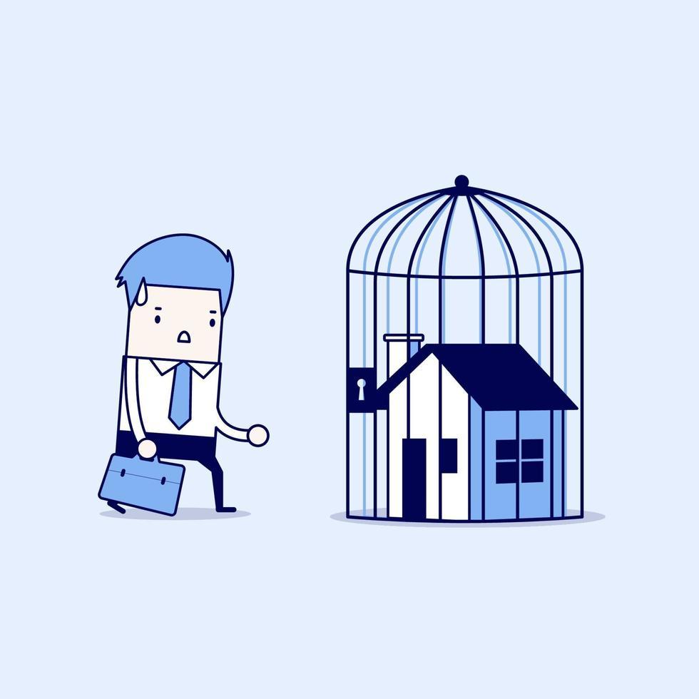 uomo d'affari con casa chiusa a chiave all'interno di una gabbia, preclusione a casa. vettore