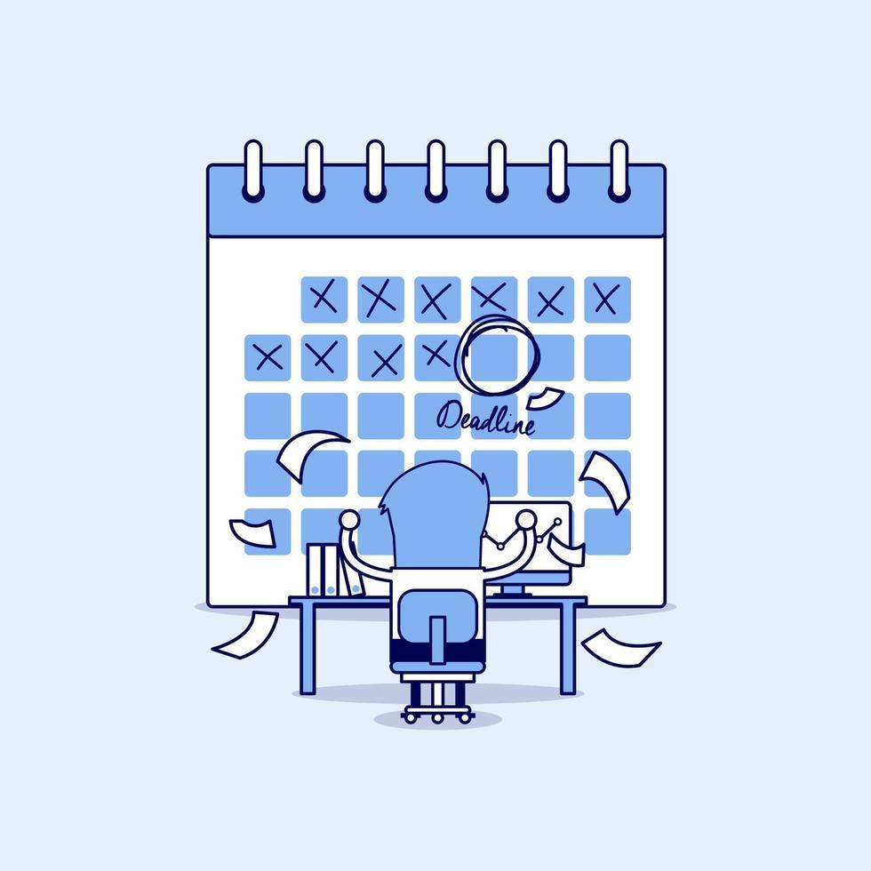 uomo d'affari nel duro lavoro con una scadenza del calendario. molto lavoro. stress sul lavoro. vettore di stile di linea sottile personaggio dei cartoni animati.