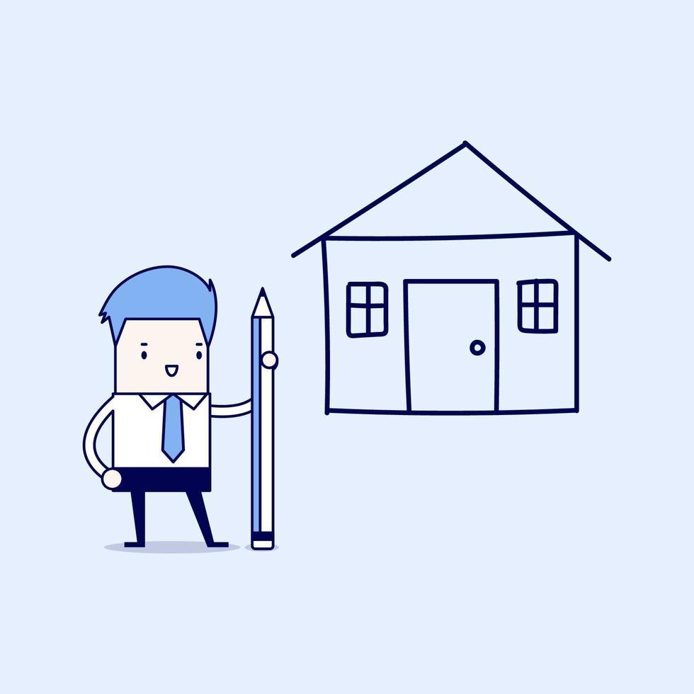 uomo d & # 39; affari disegno piano casa a matita. vettore di stile di linea sottile personaggio dei cartoni animati.
