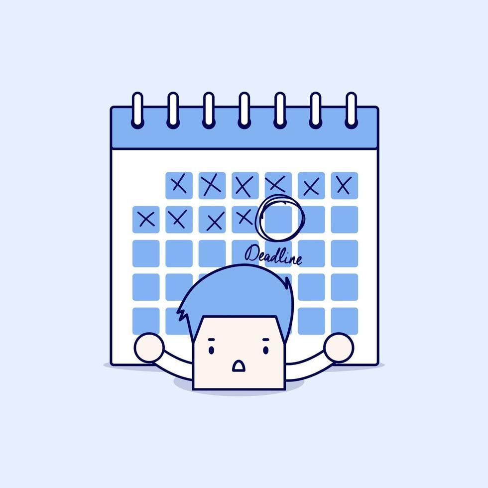 uomo d'affari con il calendario sulla schiena. duro lavoro e concetto di scadenza. vettore di stile di linea sottile personaggio dei cartoni animati.