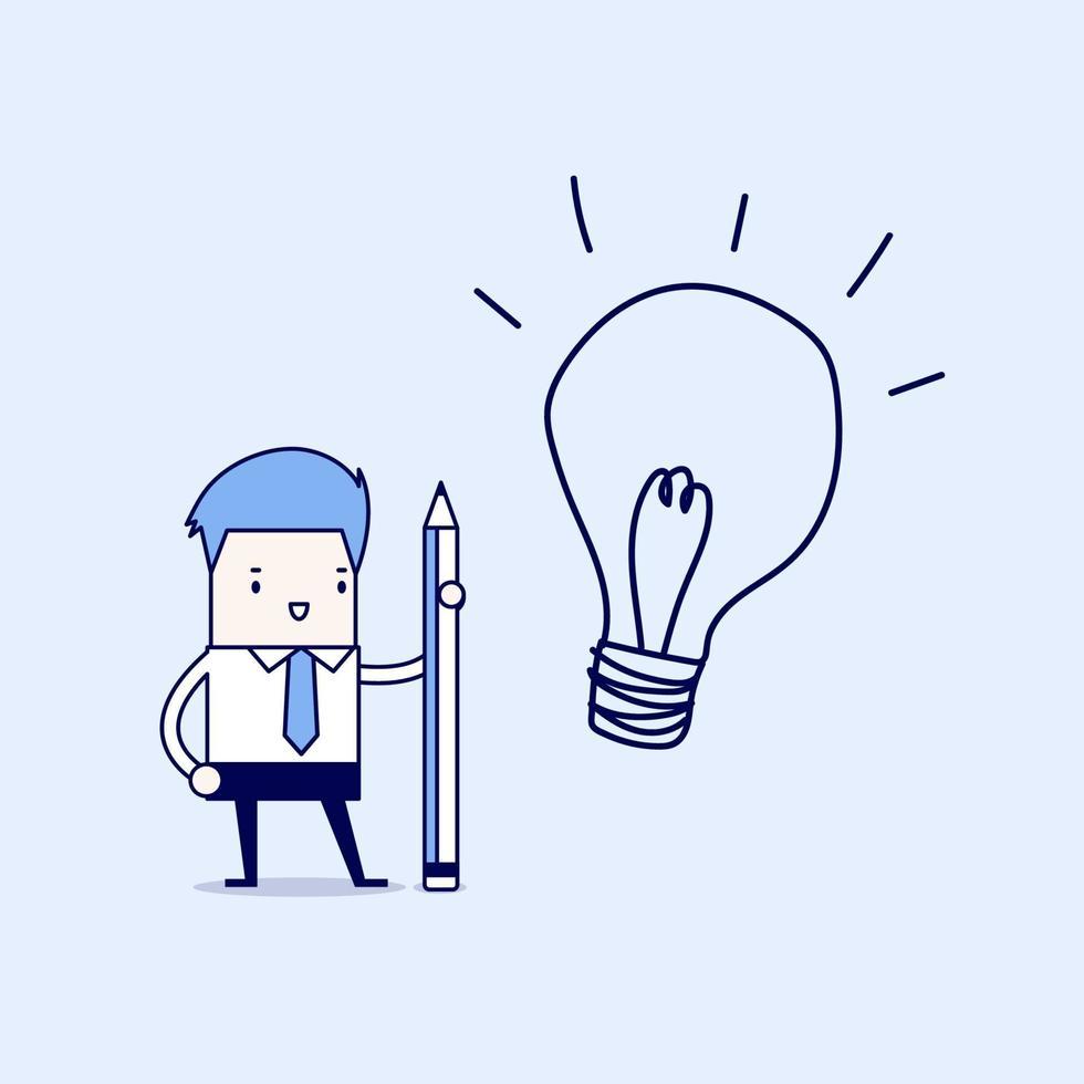 uomo d'affari utilizzando la matita per disegnare una lampadina. vettore di stile di linea sottile personaggio dei cartoni animati.