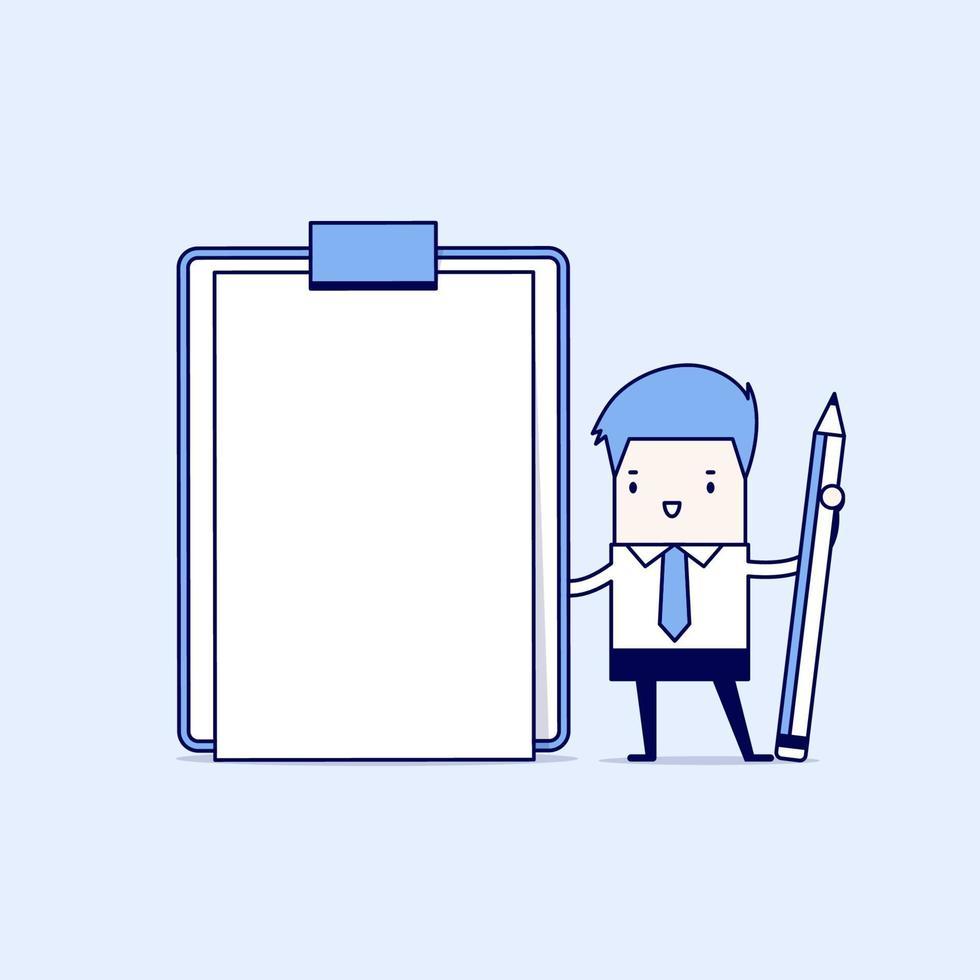 imprenditore tenendo appunti con carta bianca vuota. vettore di stile di linea sottile personaggio dei cartoni animati.