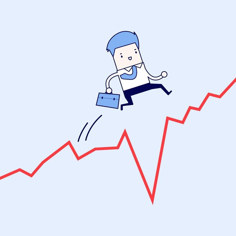 uomo d'affari salta oltre il divario nel grafico di crescita. vettore di stile di linea sottile personaggio dei cartoni animati.