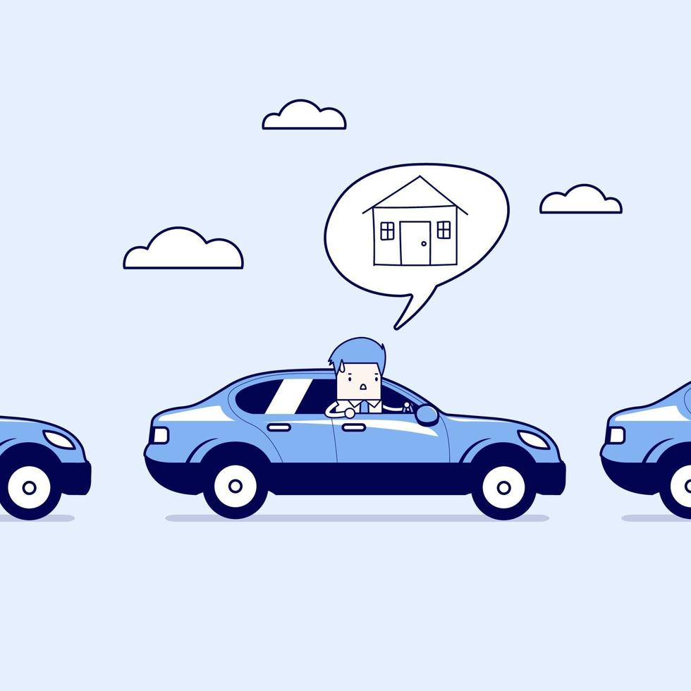 uomo d'affari sulla strada del ritorno a casa in auto sul traffico. vettore di stile di linea sottile personaggio dei cartoni animati.