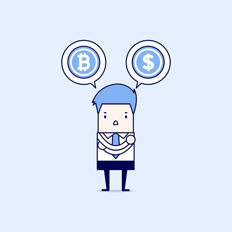 uomo d'affari con scelte bitcoin o dollaro. vettore di stile di linea sottile personaggio dei cartoni animati.