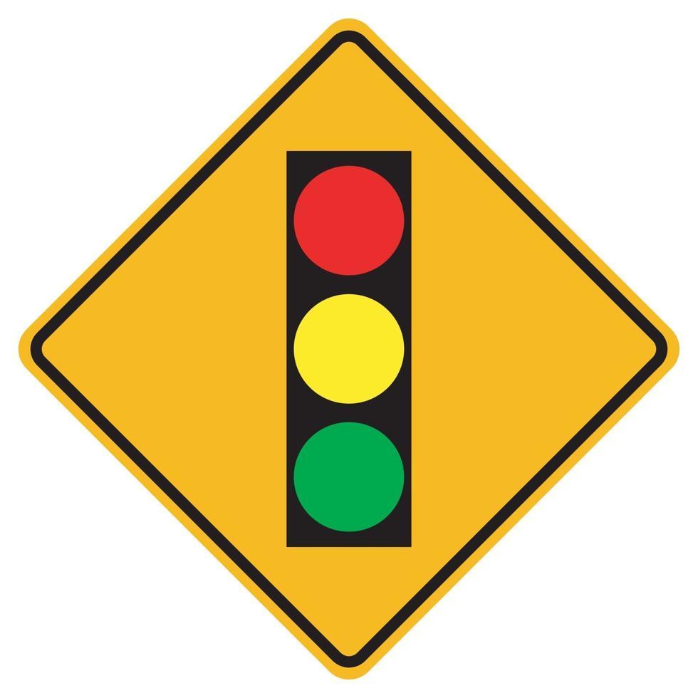 segnali di avvertimento semafori avanti su sfondo bianco vettore
