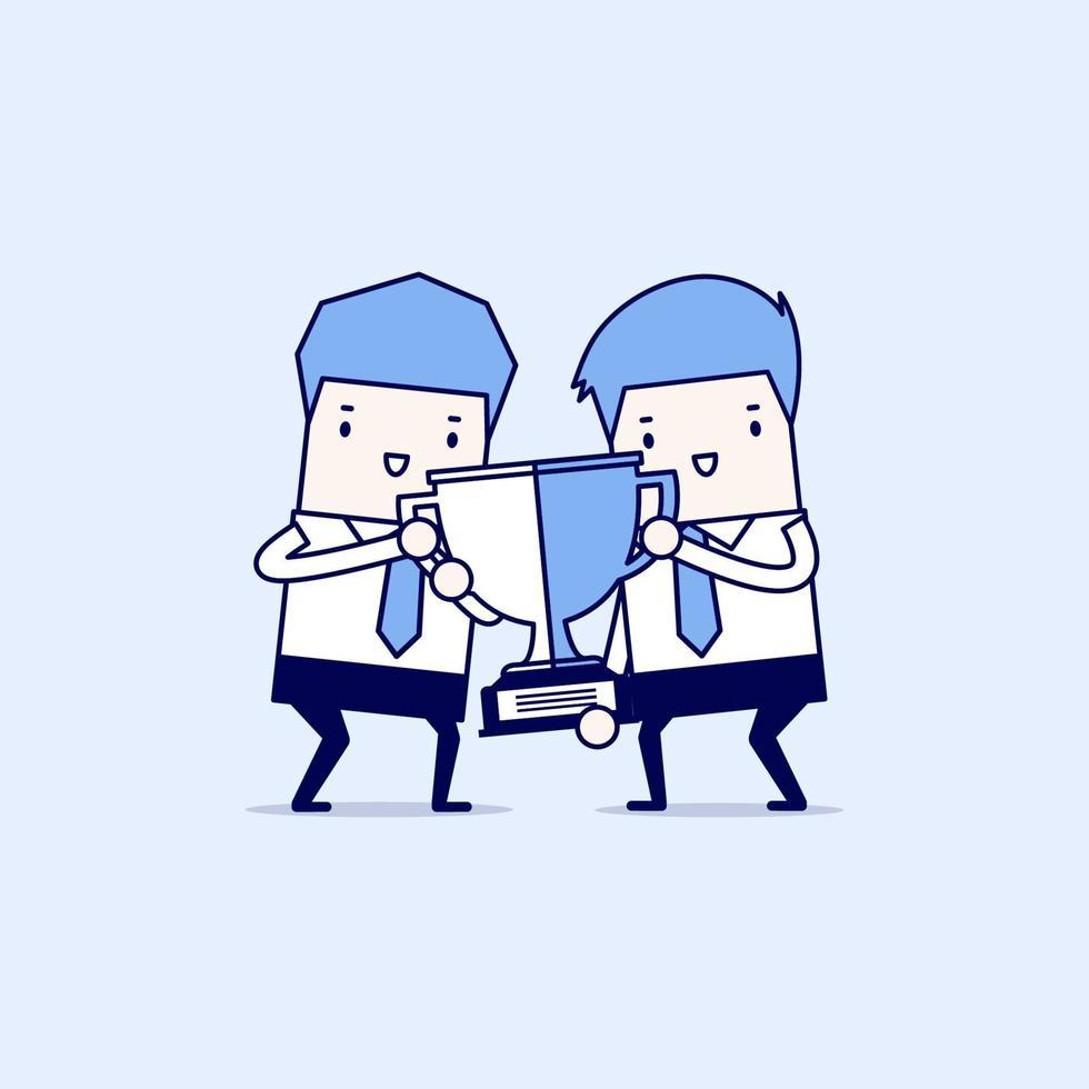 due uomini d'affari che tengono insieme la tazza del vincitore dell'oro. lavoro di squadra, cooperazione e concetto di partenariato. premio vincente. vettore di stile di linea sottile personaggio dei cartoni animati.