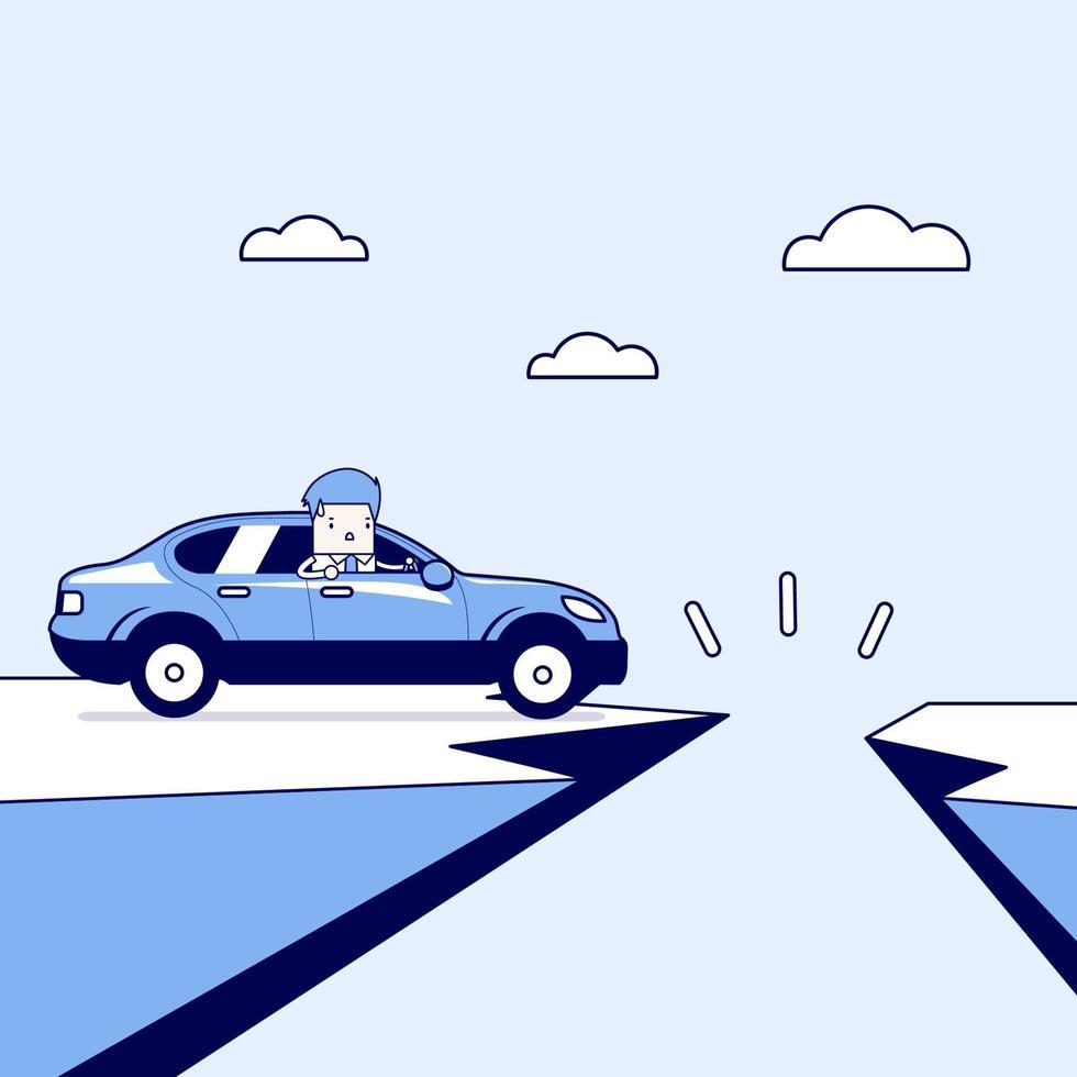 uomo d'affari su una macchina con gap sulla strada di montagna. vettore di stile di linea sottile personaggio dei cartoni animati.